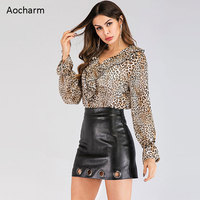 Aocharm Leopard Print Bodysuit Long Sleeve 2019 Spring Fashion Ruffles Elegant Women Ladies V Neck Top Shirt and Blouse Bodysuit