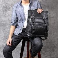 100% натуральной кожи пояса черный рюкзак для мужчин большой ёмкость мужской рюкзак для ноутбука дорожные сумки для подростка школьная сумка