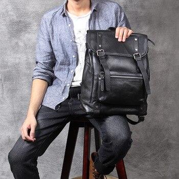 100% Natural Skin Genuine Leather Black Backpack Men Large Capacity  Laptop Backpack Male Travel Bags For Teenager School bag