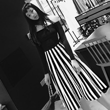 415659e64a Elegant Women High Waist Black And White Striped Knitting Skirt Chic A-line  Pleated Lady