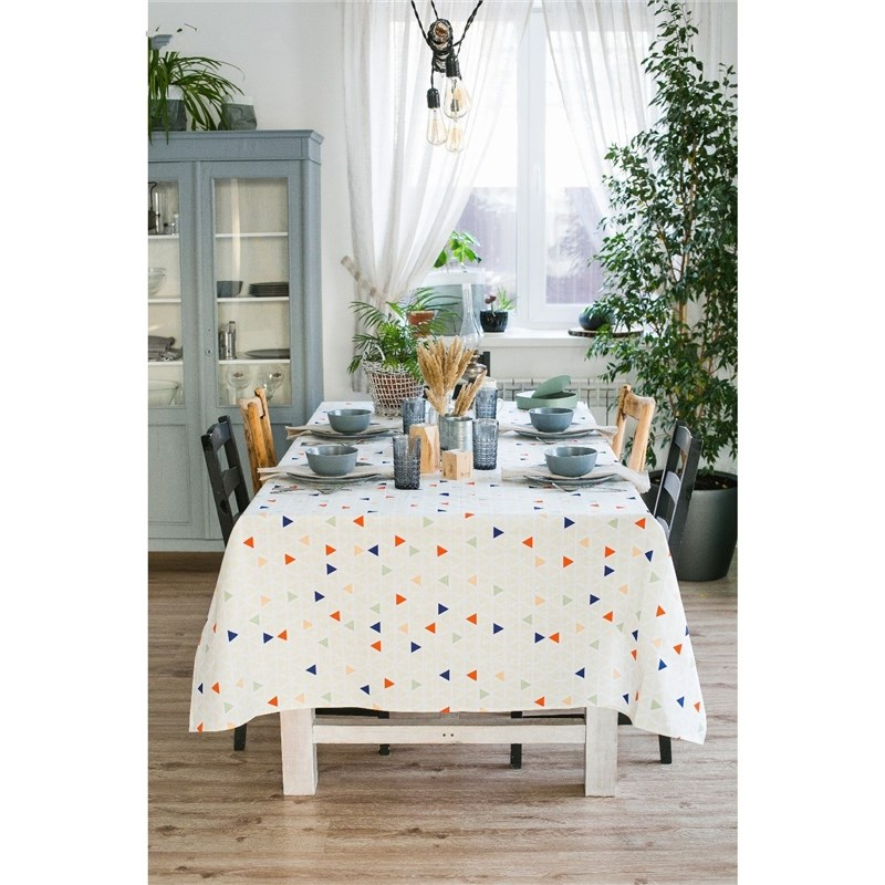 Tablecloth Ethel Triangles, 150 × 280 cm, репс, pl. 130g/m², 100% cotton decorative pillow case ethel triangles 45x45 cm репс pl 130g m² 100% cotton