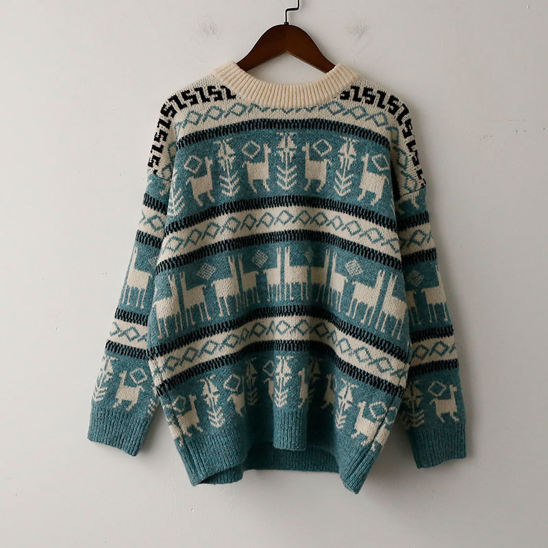 2b527fc53c1b06 Ugly Christmas Sweater Women Winter Warm Vintage Jumper Harajuku Reindeer  Loose Long Sleeve Pullover Clothes Pull
