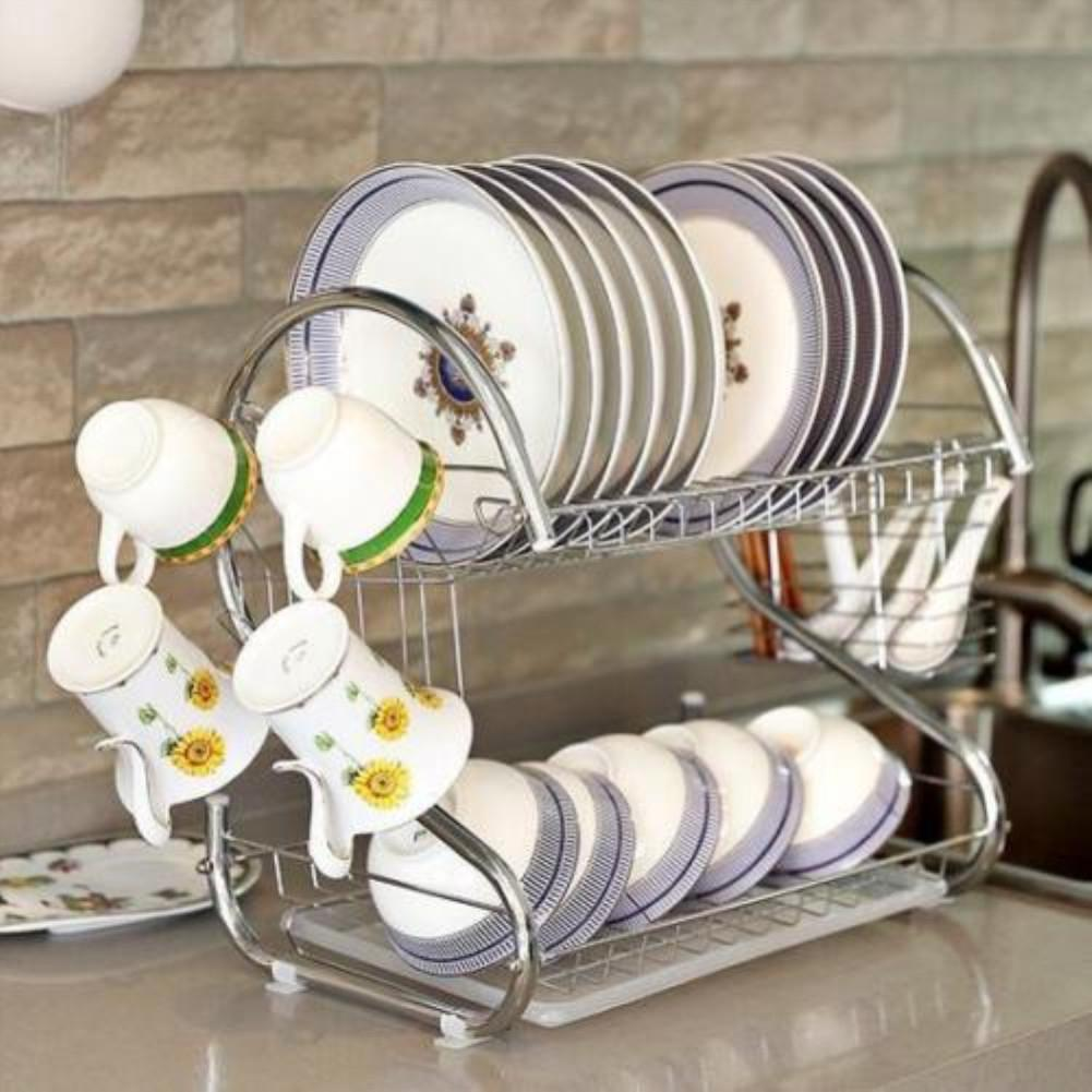 Adeeing Capacity Stainless Steel 2-Layer Dish Drainer Drying Rack For Kitchen Storage