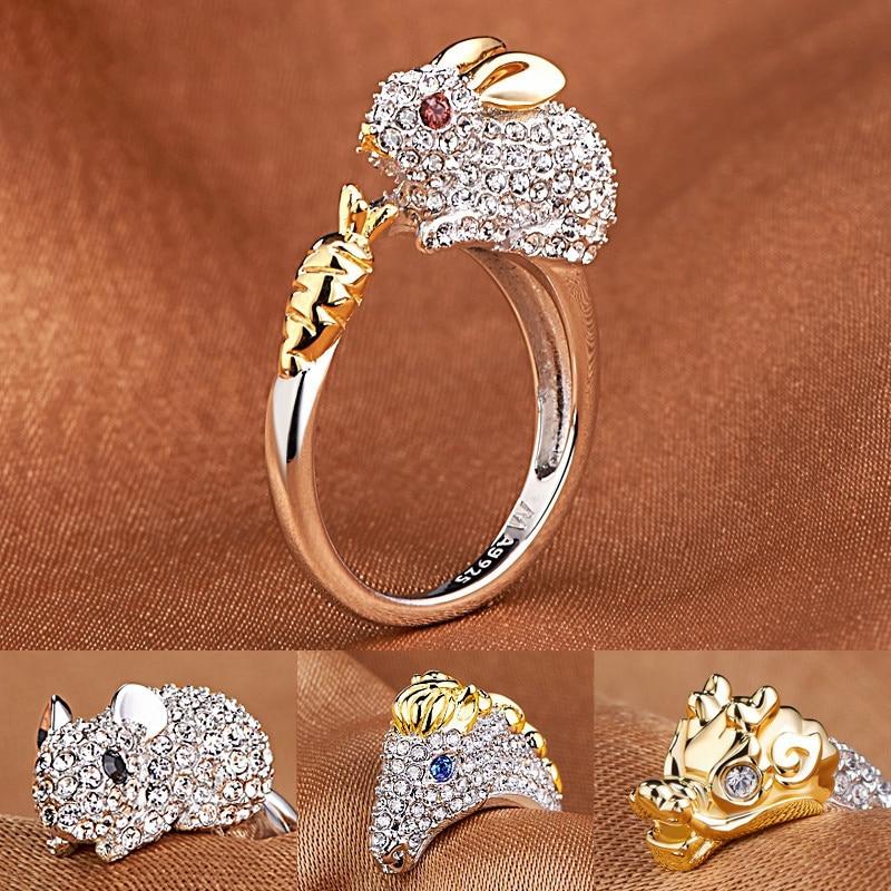 Elegante Luna & Estrella Imitación Diamantes Plata De Ley Anillo De Banda Fine Jewelry