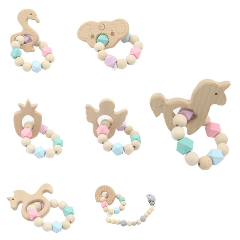 1pc Baby Nursing Bracelets Wooden Teether With Beads Animal Teething Wood Rattles Toys Baby Teether Bracelets Nursing Toys Gift