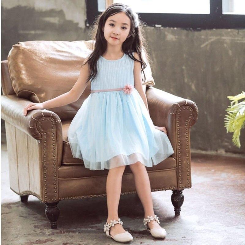 Tulle Patchwork Kids Baby Girl Sleeveless Dresses Summer 2019 Little Teen Girl Dress Holiday Children Clothing Sundress