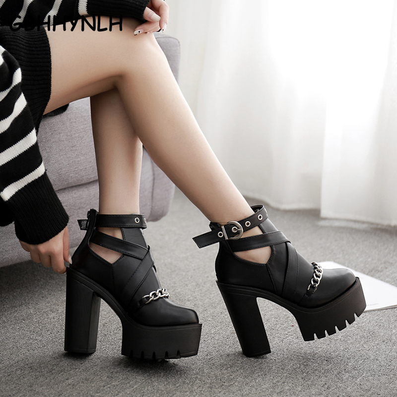 GBHHYNLH Fashion Ankle Boots Platform Shoes Round Toe fall Boots Thick High Heels spring shoes Punk