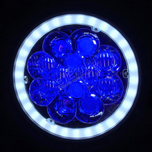 DC10-30V 60W 7inch round LED headlight dual sealed beam with white halo & blue atmosphere for offroad Wrangler TJ JK Land Rover