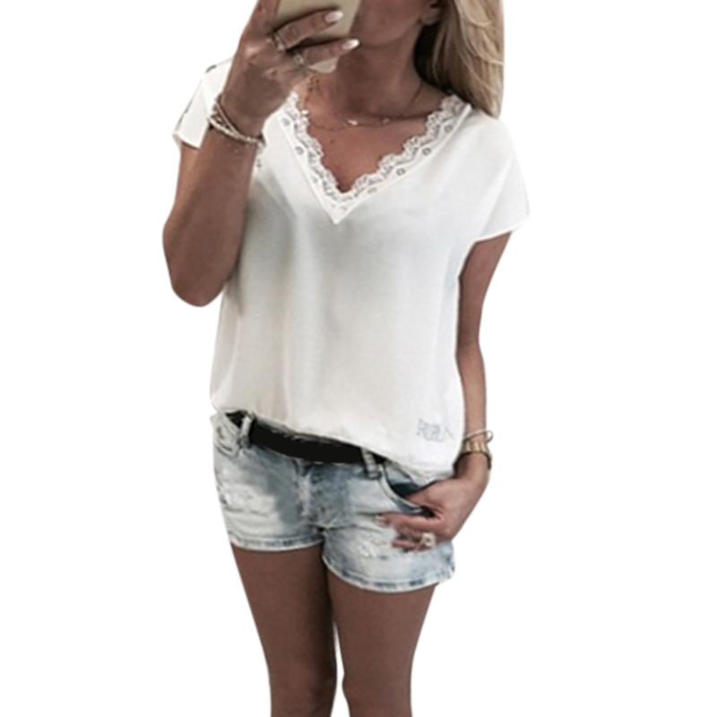 S-5XL Fashion Lace Patchwork   Blouse     Shirts   Woman Casual Loose Sexy V-neck   Blouse   Women's Summer Tops Short Sleeve Femme Blusas