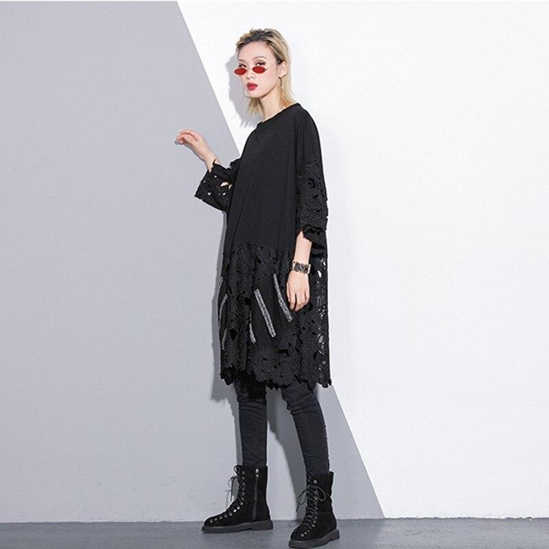 CHICEVER 春カジュアル女性 O ネック半袖裾レースパッチワーク特大 2019 女性のドレスファッション新  グループ上の レディース衣服 からの ドレス の中 3