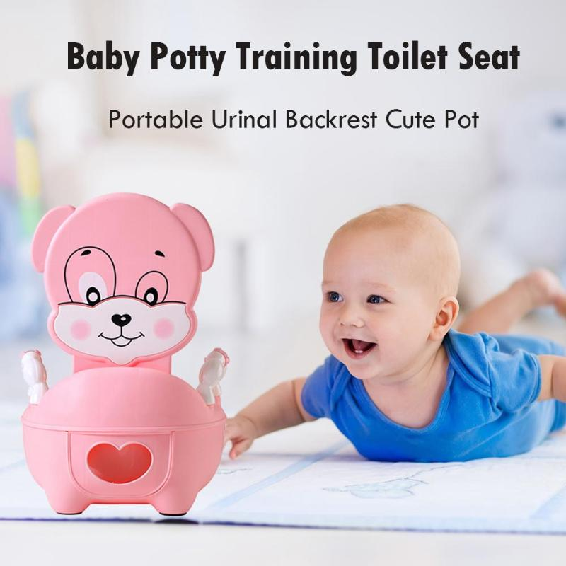 Baby Potty Toilet Bowl Training Pan Toilet Seat Kids Portable Urinal Backrest Cute Pot for Baby Kids Toilet Training Potty | Happy Baby Mama