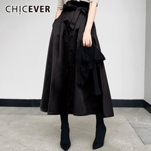 CHICEVER Autumn Winter Women's Skirt Bow Bandage High Waist Big Hem Long Skirts For Women Korean Fashion Vintage Clothes Tide