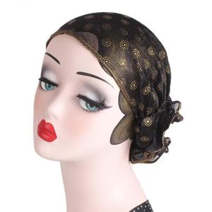 Image 4 - Women Lace Hat Flower Bonnet Chemo Cap Muslim Print Head Scarf Islamic Turban Hats Hair Loss Arab Ramadan Beanies Skullies New