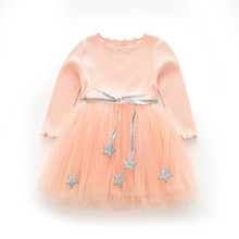 купить Newborn Kids Baby Girls Knitted Long Sleeve Stars Belt Lace Tutu Dress Clothes Children Casual Fashion Dresses  3-7years по цене 650.66 рублей