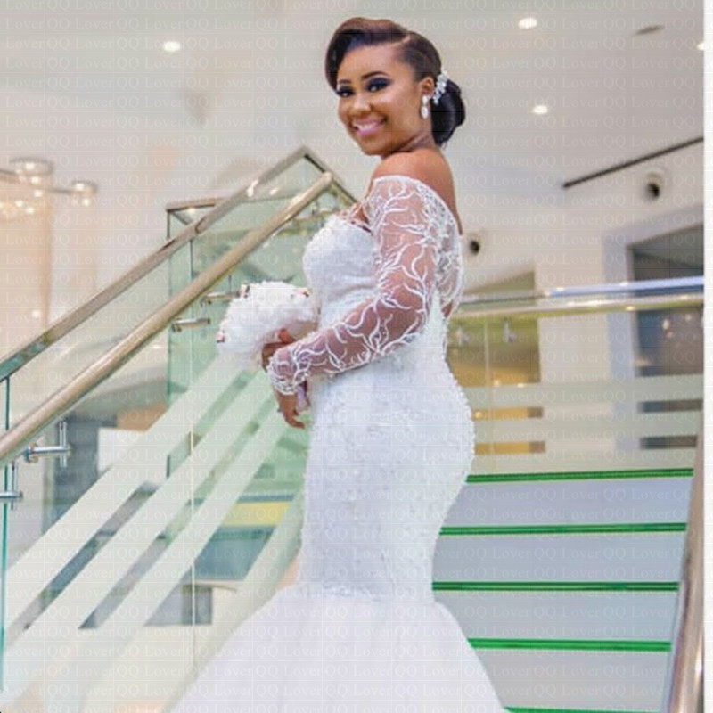 2019 New African Mermaid Wedding Dress Luxury Lace Off -The -Shoulder  Long Train Wedding Gown Hot Seller