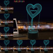 3D Illusion Lighting I love You LED Night Light Multicolor Lamp Romantic Valentines Holiday Gift for Girls