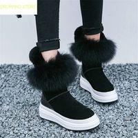 Женская обувь из натуральной кожи, на танкетке, на платформе, зимние сапоги на высоком каблуке, с круглым носком, на натуральном меху, оксфор