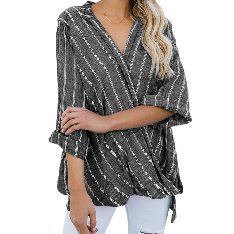 Women Striped Blouse V Neck Long Sleeve Baggy Wrap Blouse Ladies Loose Front Criss Cross Pullover Irregular Top Shirt