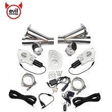 "evil energy 2'' Exhaust Pipe Cutout Kit Stainless Steel Y Pipe Headers Car Remote Control Electric \ Manual Cut Out Valve rastp 2 48"" electric stainless exhaust cutout cut out dump valve switch with remote control and manual operation rs bov029"