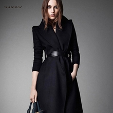 New Womens Woolen Jacket Casual Long One Button Buckle Coat Slim Lapel with Wool Autumn and Winter Belt