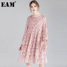 2019 [EAM] 新秋冬ラウンドネック長袖黒のレースのステッチ中空アウト気質のドレスの女性ファッション JO393