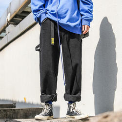 Новинка зимы бутик для мужчин Простой повседневные джинсы одноцветное цвет темпера t Свободные Большой размеры теплые
