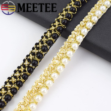 Meetee 5Yards 1.5cm Gold Silk Braided Pearl Beaded Lace Trim Ribbon Fabric DIY Collar Sewing Clothing Bag Curtain Supplies Craft