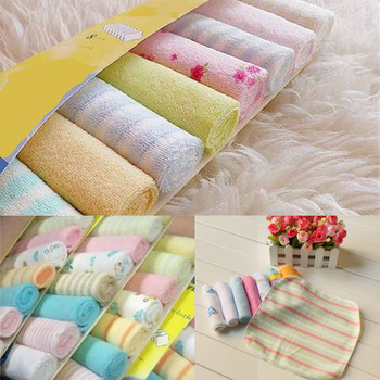 8Pcs Cute Soft Cotton Baby Infant Newborn Colorful Bath Towel Face Towel Washcloth Feeding Wipe Cloth 22.9cm*22.9cm