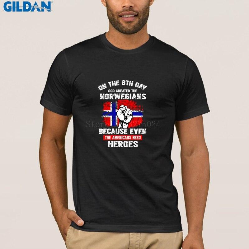 Camiseta Deus Criou O Norueguês Noruega criatura Única Camisa de T Para Homens  Legal Mais Recente T-Shirt Dos Homens 2018 Top Pop tee 3210c9393773e