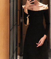 Spring and Autumn Boat/Bateau Neckline Mesh Panel off the Shoulder Small Black Dress Light Vintage Long Dress Base 8535