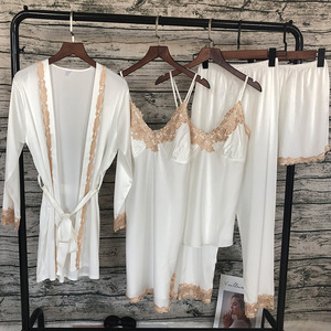 Image 4 - Taze yaz 5 adet seksi dantel Pijama takımı hırka + gecelik + pantolon seti Pijama kadınlar için