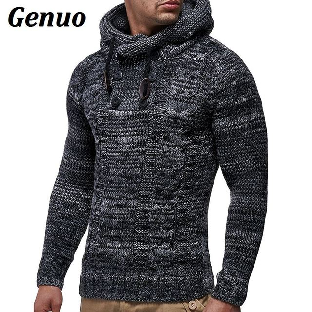 Genuo Winter Knitted Sweater Men Autumn Fashion Solid Mens Sweaters 2018 Casual Turtleneck Outerwear Hooded Pullover Sweater