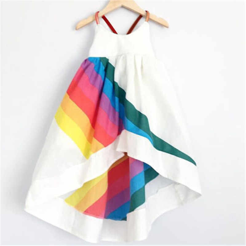 Fashion Cute 1-6T Newborn Kid Baby Girl Summer Rainbow Strap Party Wedding Bridesmaid Dresses New Hot Sale O-Neck Cotton