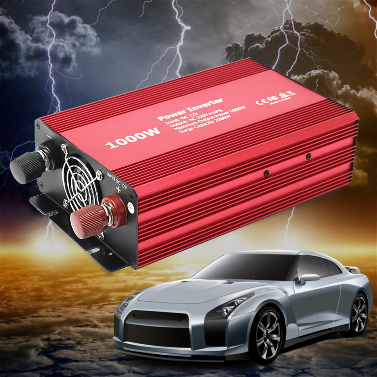 1000W/2000W Peak Dual Charger Adapter Auto Car Power Inverter DC 12V to AC 220V Charger Supply Voltage Transformer Converter