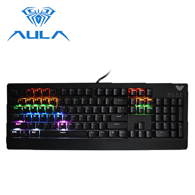 AULA Gamer Keyboard Wired RGB LED Backlight Black Switch 104 keys Anti Ghosting for Laptop Computer