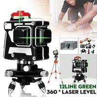 12 линий зеленый лазерный уровень 360 горизонтальный и вертикальный крест мощный зеленый лазерный луч настенные крепления IP54 с штатив с лазер