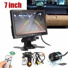 HD 7 Pollici LCD A Colori Dell'automobile Dello Schermo di Visualizzazione di Retrovisione DVD VCR Monitor Con Auto Videocamera vista posteriore + Remote