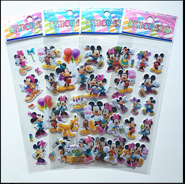 6pcs  Lovely Mouse Sticker Dimensional 3D Cartoon PVC Bubble Stickers Girls/boys Birthday Cute Gift Children Toys