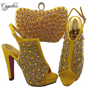 Capputine 2019 African Fashion Crsytal Shoes And Bags Set Hot Sale Italian Pumps Shoes And Bag Set For Wedding Free Shipping