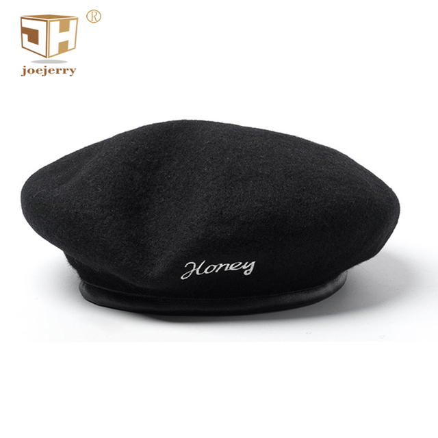 joejerry Wool Beret Black Leather Flat Cap French Hat Embroidered Beret  Female Lletter Hat Women Winter 2018 New 6ed836c4ace1