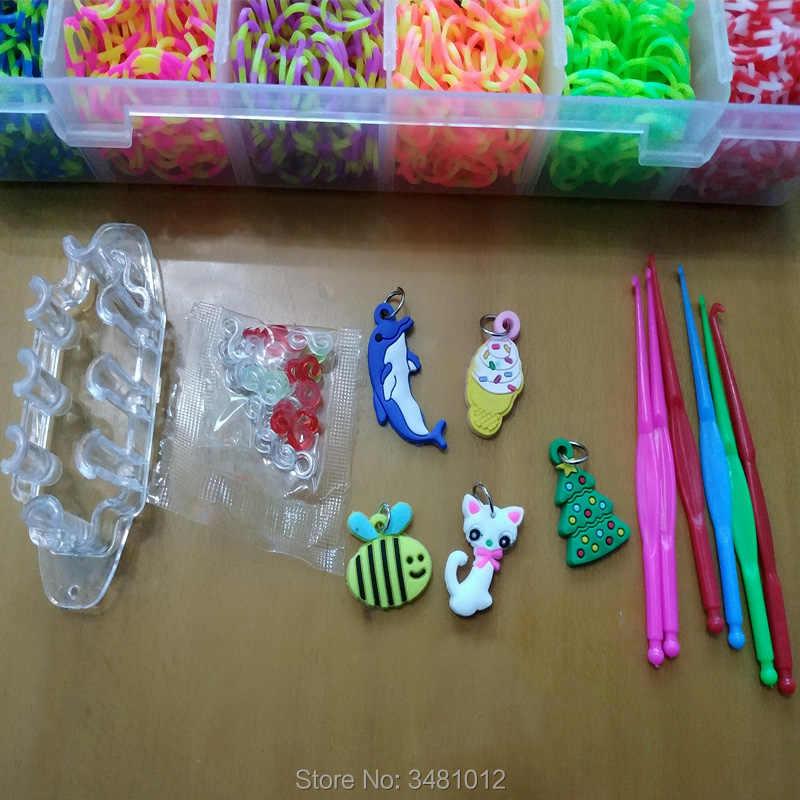 2a644d6e275d 1500 piezas coloridas bandas de telar de goma elásticas DIY set Box niñas  regalo tejido pulsera herramienta Kit niños juguetes para niños 7 8 10 ...