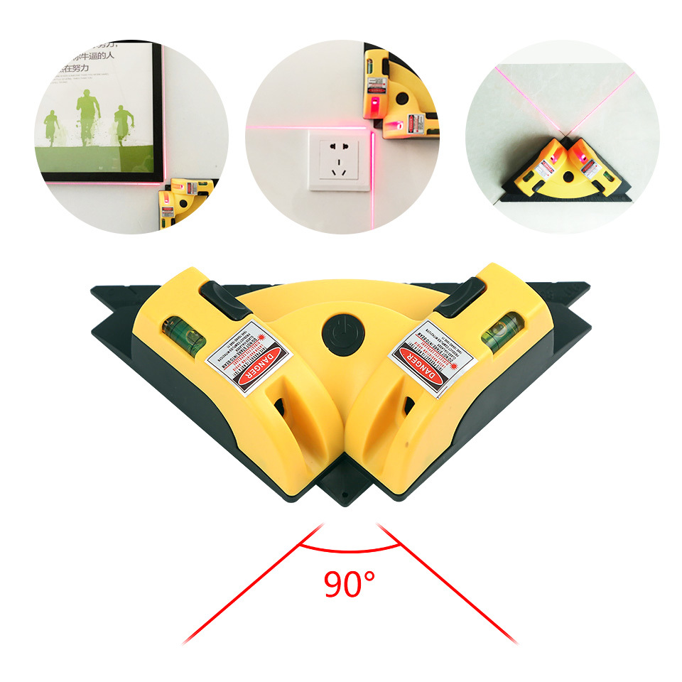 Mini Laser Level Horizon Vertical Line Tool Right Angle Tile Laser Level 90 Degree Infrared Measurement Construction Tools