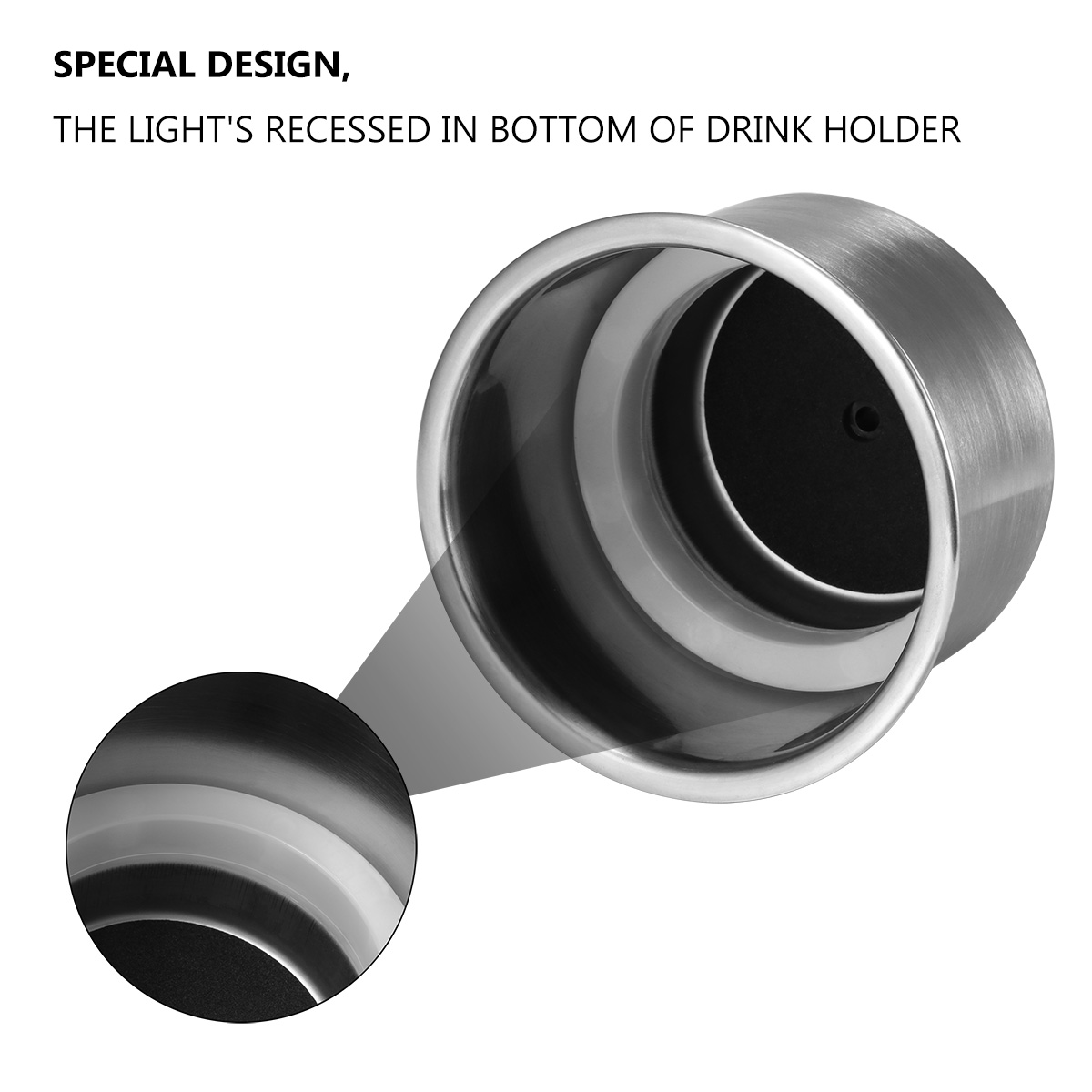 2Pcs Stainless Steel Cup Drink Holder Brushed for Marine Boat RV Camper Truck