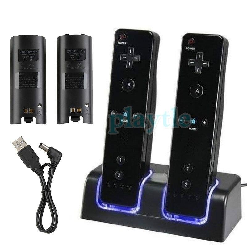 Nueva gran oferta, mando a distancia con luz LED azul, doble Estación De Carga + 2x2800 mAh, paquete de batería para Wii