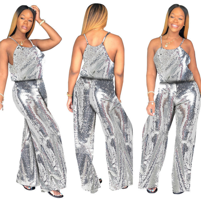 glitter silver sequin Women's Sparkle Glam Solid Spaghetti Strap Wide Leg Jumpsuit autumn rompers womens jumpsuits for women new
