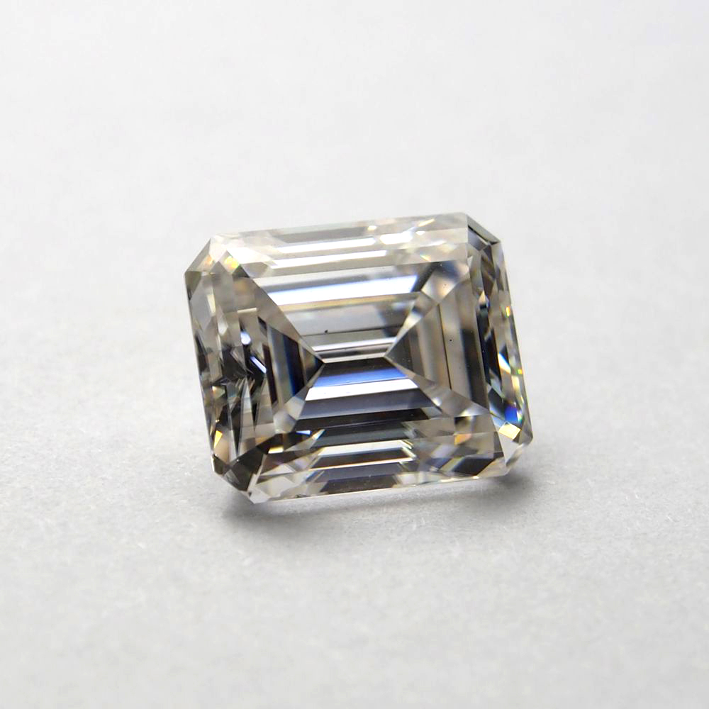 Stone Emerald Cut Carat White with 2piece 2--3--4mm Trapezoid for Wedding-Ring 9--11mm
