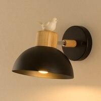 Lartin стиль светодио дный деревянный светодиодный настенный светильник для прикроватной лампы лампа в виде птиц Железный Arandela оттенок гости