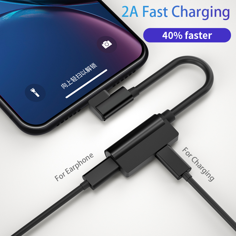 IHaitun L-shaped Cable Adapter For IPhone XS MAX XR X 7 8 Plus Splitter 2in1 Audio Earphone Headphone Charging Converter Charger