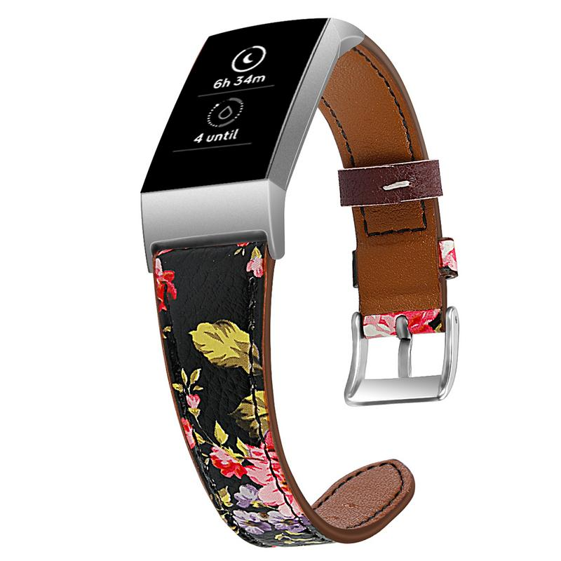 New Arrive Smartwatch Replacement Leather Band Bracelet Men Women Smart Watch Accessories Flower Pattern Smart Step Watch