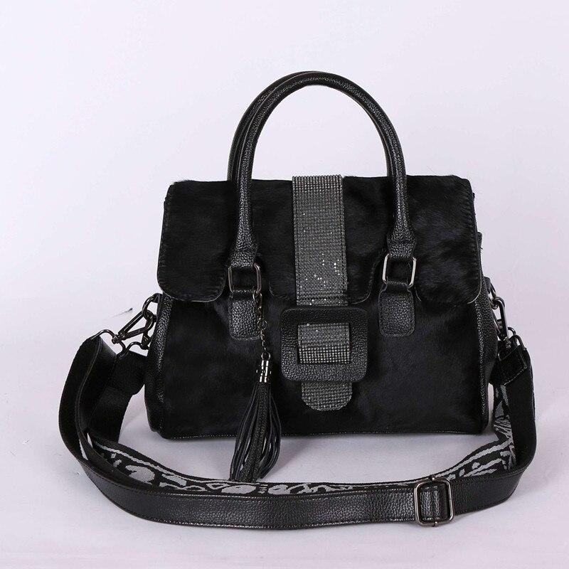 Cheval cheveux femme sac à main en fourrure sac à bandoulière femme sacoche strass Vintage en cuir véritable sac large bandoulière sac fourre-tout